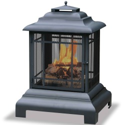 Black Steel Wood Burning Outdoor Firehouse