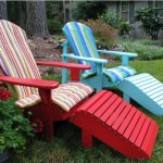 Set of Adirondack Chairs with Cushions and Footrest