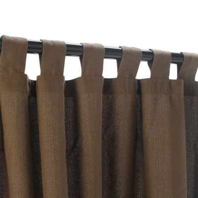 Coffee WeatherSmart Outdoor Curtain with Tab Top in 50 in. W by 120 in. L