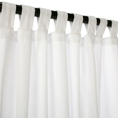 Pure White WeatherSmart Outdoor Curtain with Tab Top in 50 in. W by 84 in. L