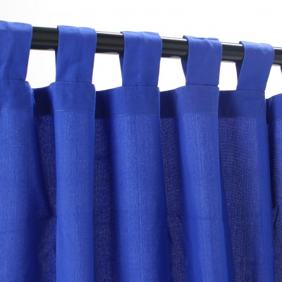 Weathersmart Caribbean Blue Outdoor Curtain with Tabs in 50 in. W by 108 in. L