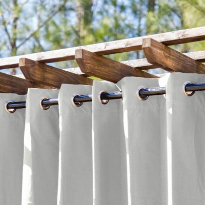 White Extra Wide Outdoor Curtain with Nickel Grommets