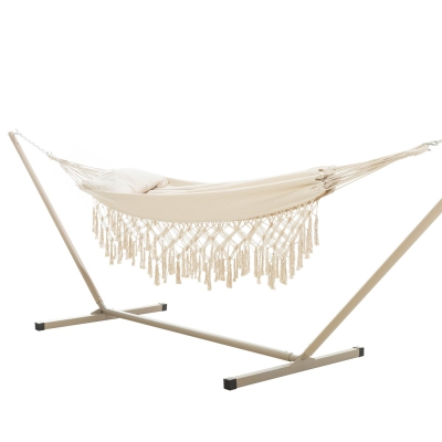 Double Fringe Design Hammock Combo with Small Stand and Pillow - Natural