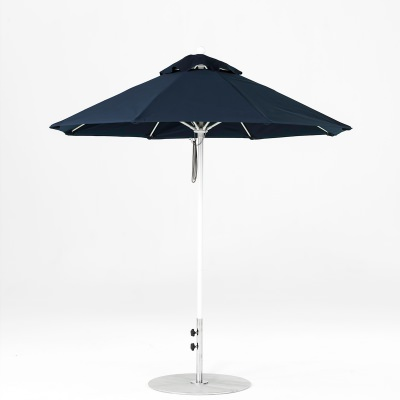 7.5 Ft. Pulley Lift Fiberglass Market Umbrella with White Pole