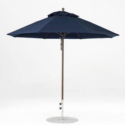 9 Ft. Pulley Lift Fiberglass Market Umbrella with Bronze Pole