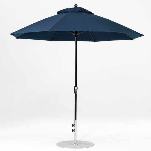 9 Ft. Crank Lift Fiberglass Market Umbrella with Black Pole