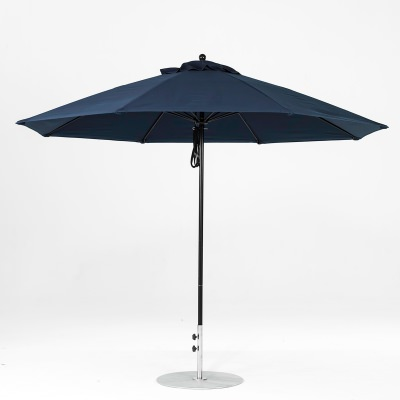 11 Ft. Pulley Lift Fiberglass Market Umbrella with Black Pole
