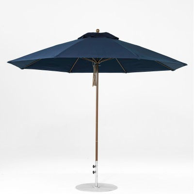11 Ft. Pulley Lift Fiberglass Market Umbrella with Bronze Pole