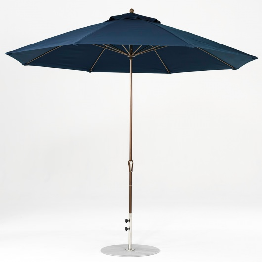 11 Ft. Crank Lift Fiberglass Market Umbrella with Bronze Pole