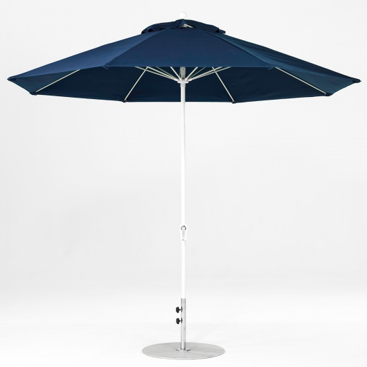 11 Ft. Crank Lift Fiberglass Market Umbrella with White Pole