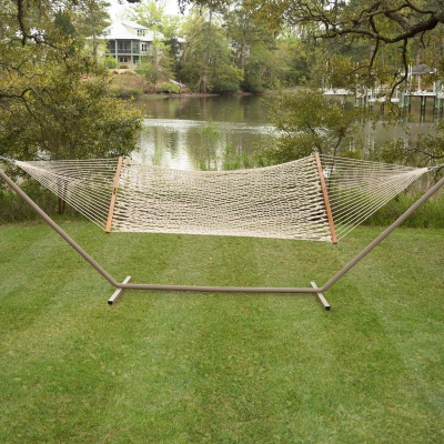 Large Original Cotton Rope Hammock with Steel Taupe Hammock Stand and Wheel Kit