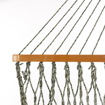 Single Original DuraCord Rope Hammock - Green Oatmeal Heirloom Tweed