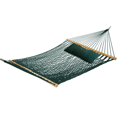 Large Green Soft Spun Polyester Rope Hammock with FREE Pillow