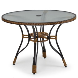 40 in Resin Wicker Dining Table with Glass Top
