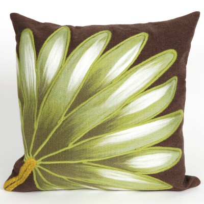 Palm Fan Chocolate Outdoor Pillow