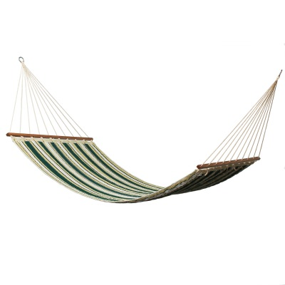 Large 2 Person Spring Meadow Stripe Sunbrella Quilted Hammock