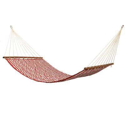 Large 2 Person Soft Polyester Cabana Red Quilted Hammock
