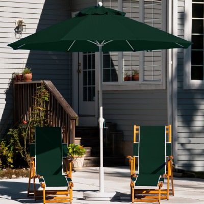 7.5 Ft. Crank Lift Fiberglass Market Umbrella with White Pole