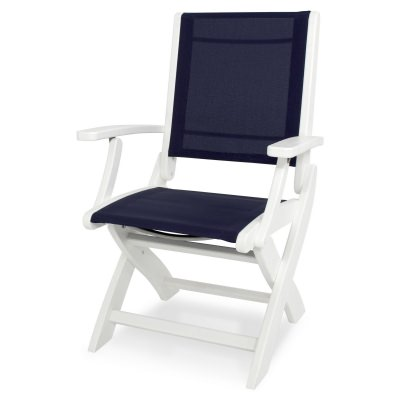 Coastal Folding Chair with White and Navy Blue Sling