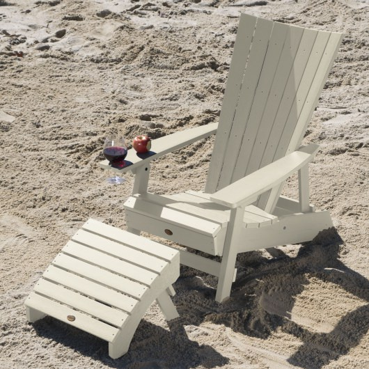 Manhattan Beach Adirondack Chair with Wine Glass Holder and Folding Ottoman