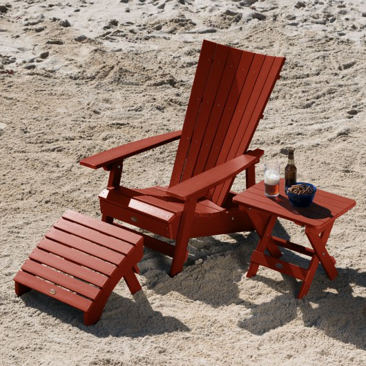 Manhattan Beach Adirondack Chair with Folding Side Table and Ottoman