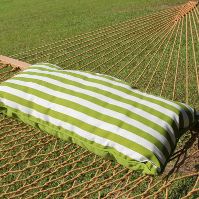 Sunbrella Hammock Pillow - Macaw Green and White Stripe