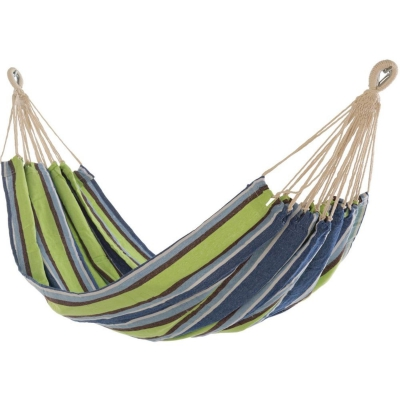 Large Cotton Brazilian Blue & Green Stripe Hammock with FREE Matching Storage Bag