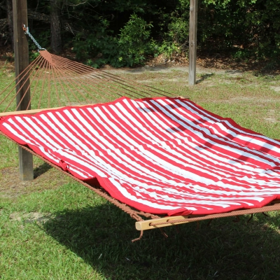 Reversible Hammock Pad - Sunbrella Jockey Red and White Stripe