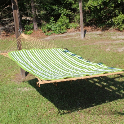 Reversible Hammock Pad - Sunbrella Cabana Green and White Stripe