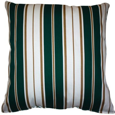Green and White Stripe Outdoor Throw Pillow