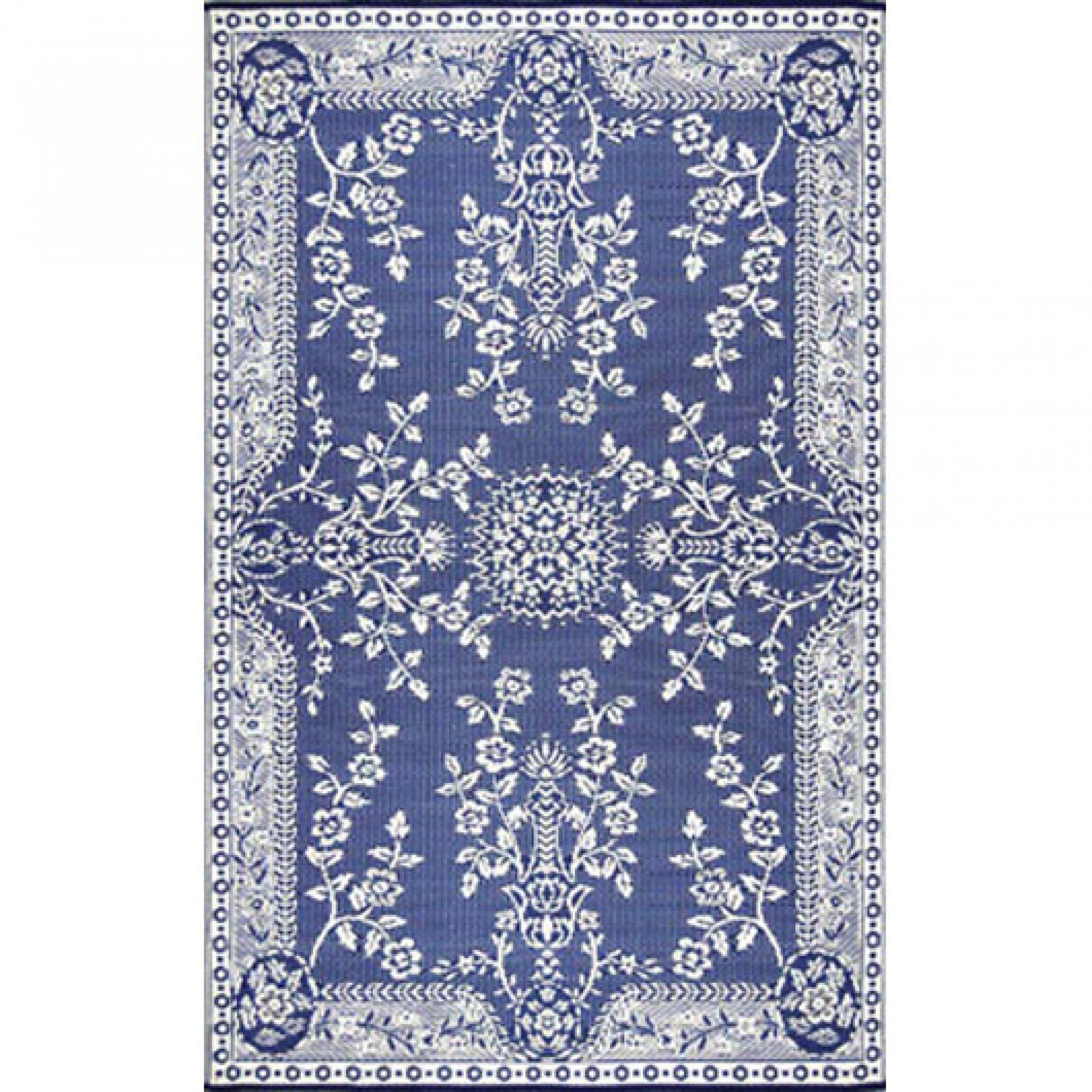 Oriental Garland Blue And White Outdoor Mat 6ft X 9ft