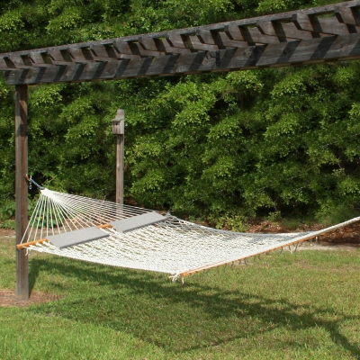 14 ft. Texas Size Extra Long Cotton Rope Hammock and 2 Pillows Combo