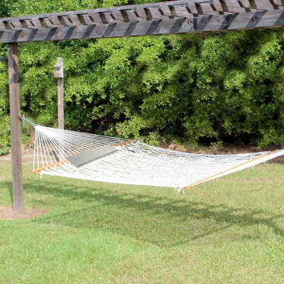 14 ft. Texas Size Extra Long Cotton Rope Hammock and 1 Pillow Combo