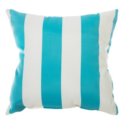 Cabana Stripe Turquoise Indoor/Outdoor Throw Pillow 18 in. x 18 in.