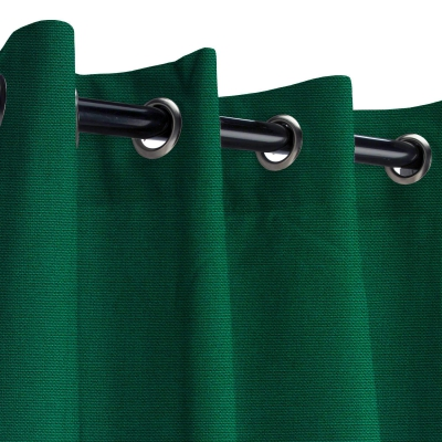 Sunbrella Canvas Forest Green Outdoor Curtain with Grommets