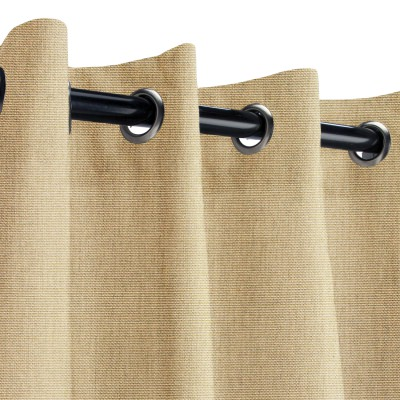 Sunbrella Canvas Heather Beige Outdoor Curtain with Grommets