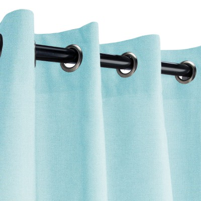 Sunbrella Canvas Mineral Blue Outdoor Curtain with Grommets