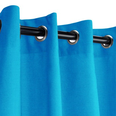 Sunbrella Canvas Pacific Blue Outdoor Curtain with Grommets