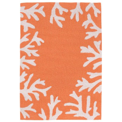 Capri Coral Border Coral Outdoor Rug