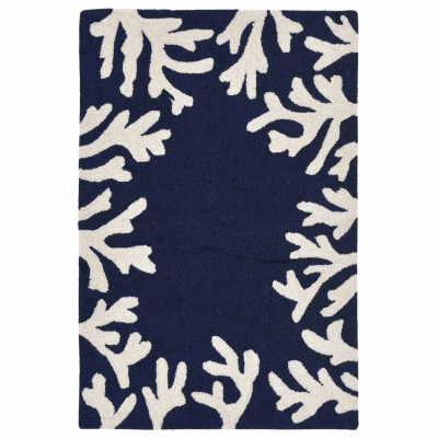 Capri Coral Border Indoor/Outdoor Rug - Navy