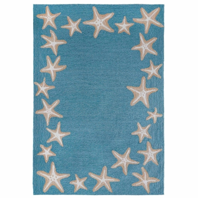 Capri Starfish Border Indoor/Outdoor Rug - Aqua