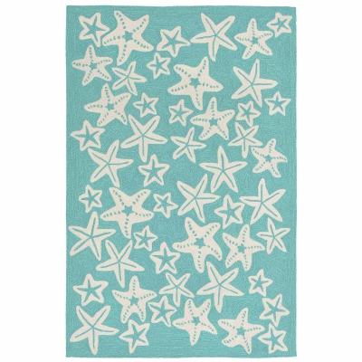 Capri Starfish Indoor/Outdoor Rug - Aqua