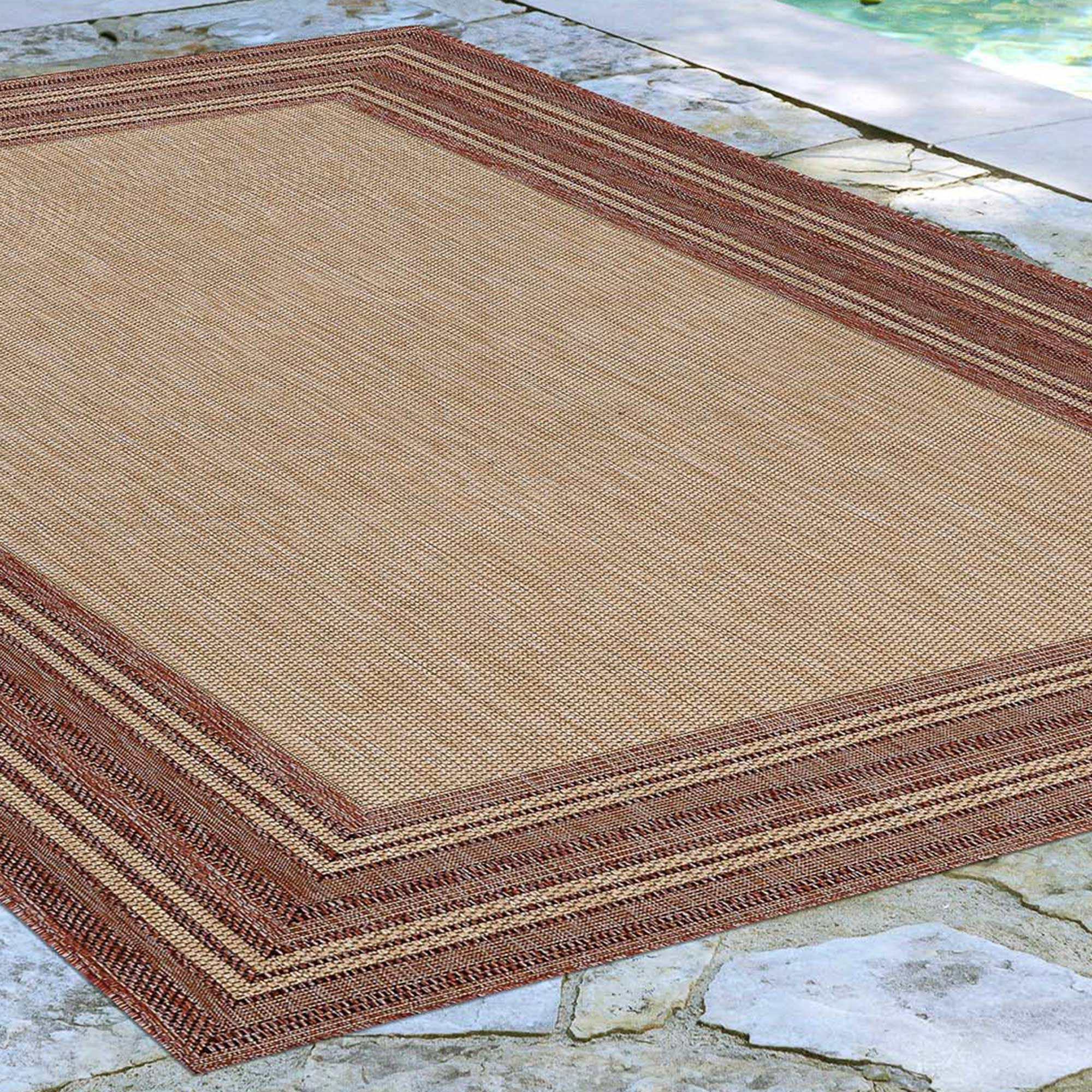 Carmel Multi Border Red Indoor Outdoor Indoor Outdoor Rugs