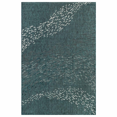 Carmel School of Fish Indoor/Outdoor Rug - Teal