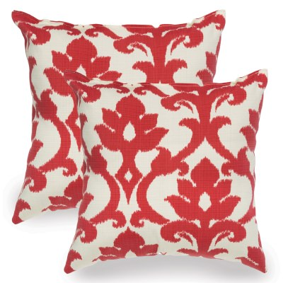 Cherry Red Basalto Indoor/Outdoor Throw Pillow - Set of Two