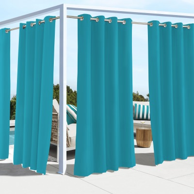 Aqua Coastal Polyester Outdoor Curtain