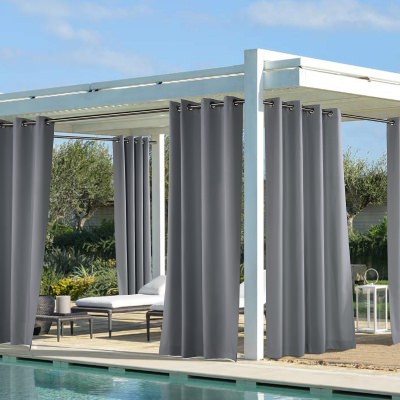 Dark Grey Coastal Polyester Outdoor Curtain