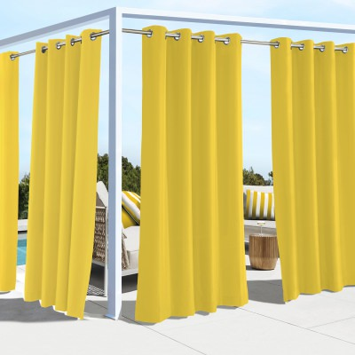 Yellow Coastal Polyester Outdoor Curtain