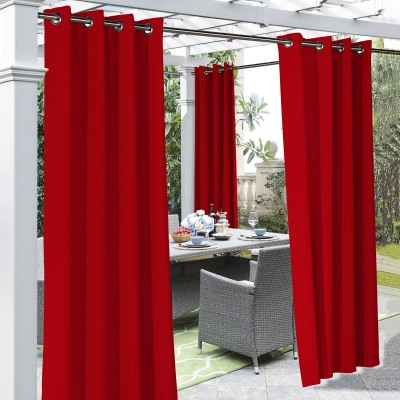 Red Coastal Polyester Outdoor Curtain