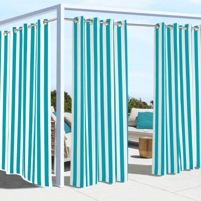 Aqua Coastal Stripe Polyester Outdoor Curtain
